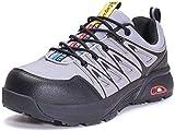 Zapatos de Seguridad Hombres Zapatillas de Trabajo con Punta de Acero Cómodas Transpirable, B Gris, 41 EU
