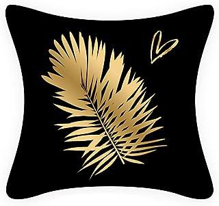 QMZ Carta Chenille Velvet Nordic Simple Fashion Black Gold Style Series Almohada Cojín Oficina Sofá Almohada Funda