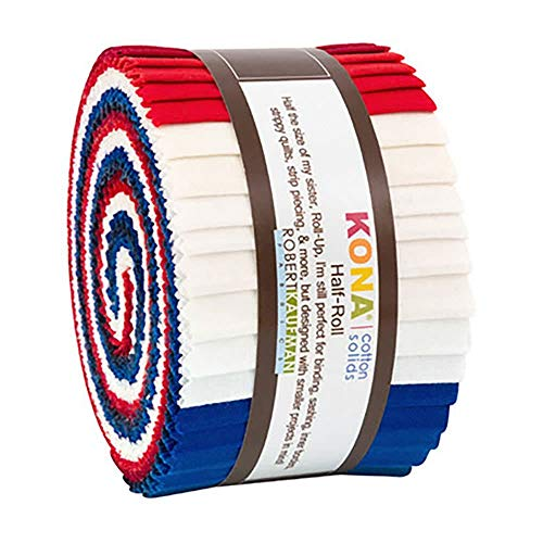 "Robert Kaufman Kona Cotton Solids Patriotic Half Roll 2.5"" Precut Cotton Fabric Quilting Strips Assortment HR-151-24"