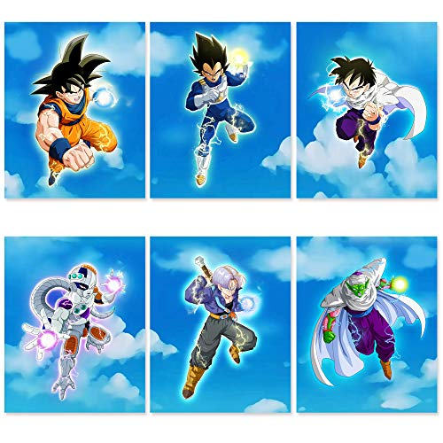 Dragon Ball Z Poster Set - 6,Pack 8x10 Inch UNFRAMED - Vegeta and Goku Poster - Super Saiyan Gohan Poster with Trunks, Frieza, Piccolo - DBZ Poster Merchandise