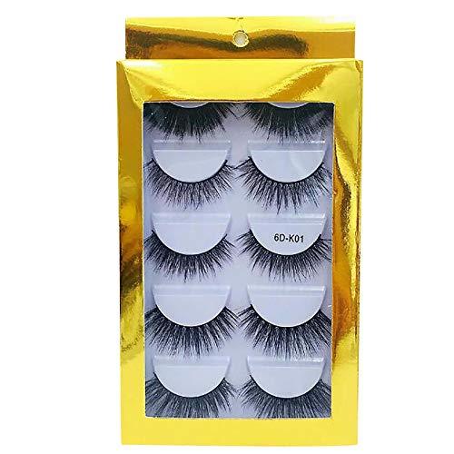 5 Paar Nachahmung Nerz Wimpern Dicke Falsche Wimpern für Make-up Wimpern Verlängerung, Handgemachte Wimpern mit Wimpernpinzette