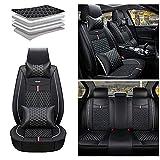 Maidao Fundas de asiento para Volkswagen Golf 3 5 6 7 Golf3 Golf5 Golf6 Golf7 Cubierta protectora de asiento trasero delantero cuero artificial impermeable con almohada negro blanco
