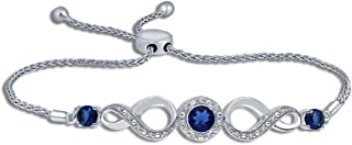 La Joya Round White Natural Diamond Created Blue Sapphire Infinity Bolo Strand Bracelet for Teens Womens