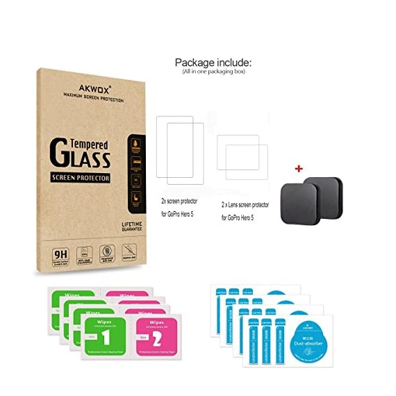 [6 Pack] Tempered-Glass Screen Protector for GoPro Hero 7 (Black Only) / Hero 5 Black Hero 6 Black (2-Pack) & Lens… 6 Designed for Gopro Hero 5/6 Black. Precise laser cut designed specifically to offer max body coverage. Greatest protection: Extremely high hardness,resists scratches up to 9H Tempered Glass with long lasting protection. 99.99% HD Clarity and Touchscreen Accuracy: High-response, high-transparency.