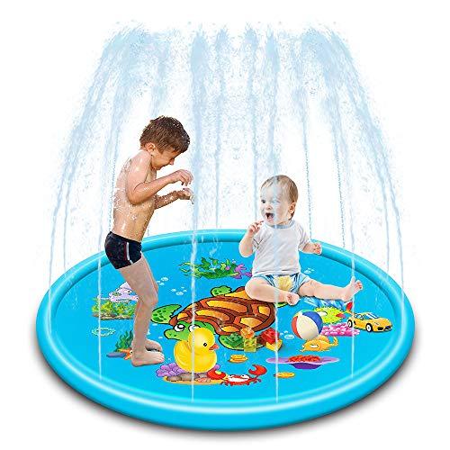 TOMYEER Almohadilla de rociador inflable para niños pequeños, piscina de bebé, juegos al aire libre, alfombrilla de agua, juguetes para bebés y bebés, 170 cm
