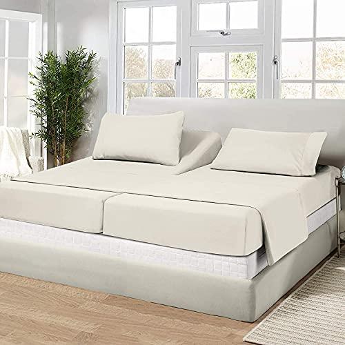 Split Bed Sheet Set 5 Pieces Adjustable Bed Sheets...