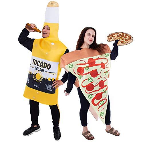 Pizza Slice and Beer Bottle Couple's Halloween Costume | Funny Food Yellow