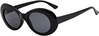 Lucoo Bold Retro Vintage Oval Mod Thick Frame Unisex Sunglasses Round Lens Clout Goggles (I)