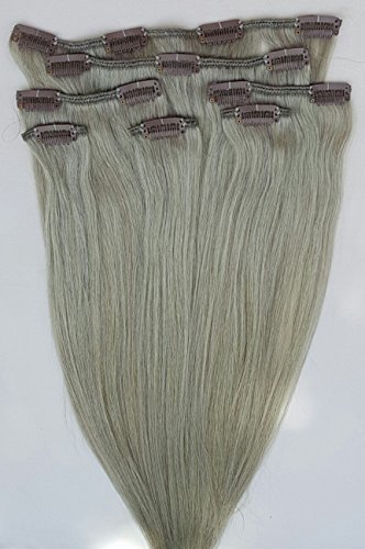 50,8 cm 7 extensions de cheveux humains 100% Remy Clip en frêne # Gris argenté (Blond Beige Base)
