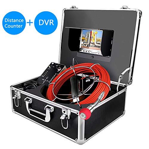 Drahtlose Inspektionskamera, Rohr Wegzähler Kanalisationsablaufrohr Endoskop Wasserdichte IP68 mit LCD-Monitor-Recorder DVR 1000TVL für Installateure, Inspektoren, Ingenieure (8G SD-Karte enthält)