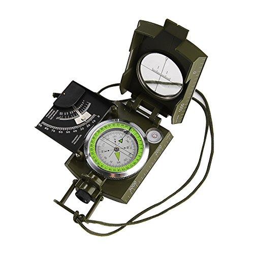 GWHOLE Bussola Militare Con Tasca e Clinometro Bussola Per Campeggio e Escursione, Istruzione Per Utenti In Inglese Inclusa
