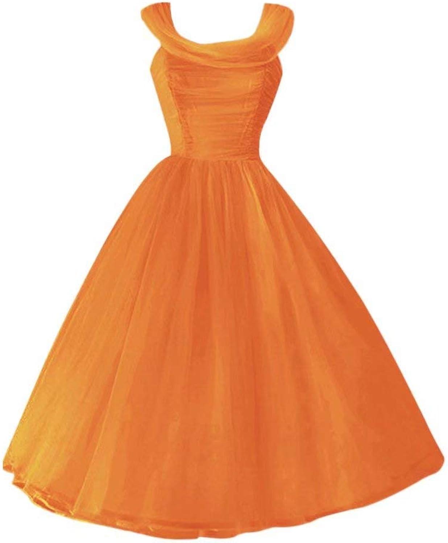 Andybridal Real Photos Ball Gown Pleat Tea Length Bridesmaid Dress Wedding Guest Dress