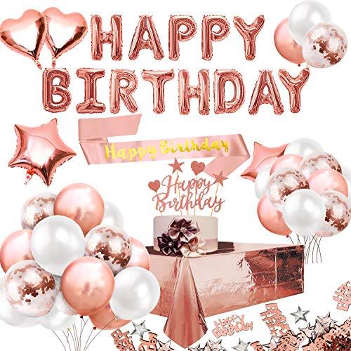 Humairc Or Rose Fête Anniversaire Décoration Joyeux Anniversaire Bannière Nappe Ceinture Latex Confettis Ballons Rose Or Gâteau Topper Table Anniversaire Confettis pour Femmes Fille