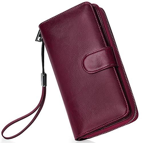 Monederos Mujer Cartera Cuero de Mujer Grande Capacidad Wallet con RFID Bloqueo, Larga Billetera Bolsos con Bolsillo de Cremallera y Correas de Muñeca Vino Tinto