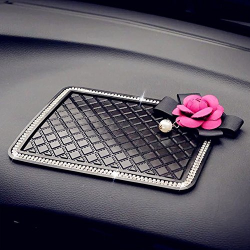 Follicomfy Camellia Flower Car Anti-Slip Pad Mat for Mobile Phone MP4 GPS Crystal Rhinestone Non Slip PVC Cover-Pink Flower