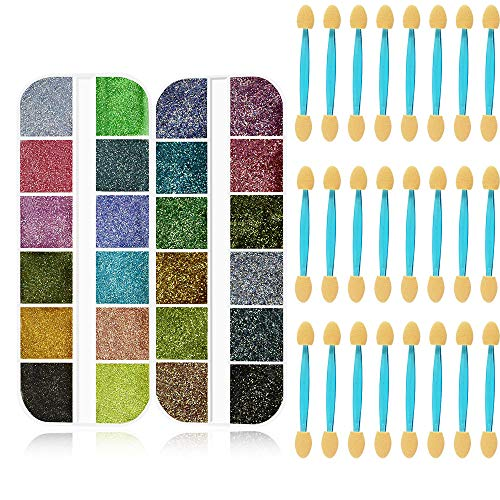 FREEORR 24 Pop Colors (2 Boxes) Chrome Nail Powder Set -Holographic Chameleon Glitter Laser Nail Powder Mirror and Bubble Effect Nail Art Decoration Manicure Pigment with 24 Pcs Sponge Tool