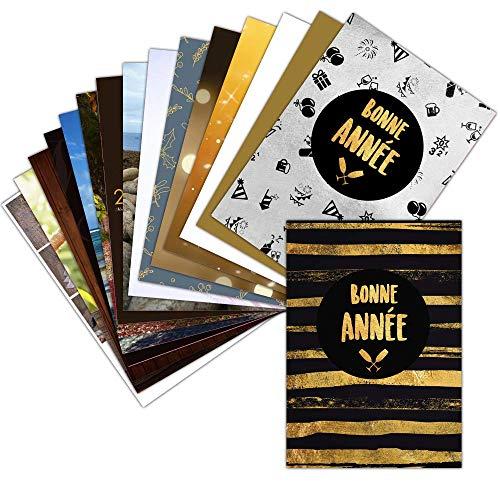 Carte de Voeux 2021 Classique Bonne Année — Lot de 16 Cartes Différentes ➽ Format Carte Postale (3 Formats Dispos) — Jolie Carte de Voeux 2021 Classique Bonne Année