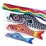 【セット内容】100cm吹流し・ 100cm黒鯉・70cm赤鯉・55cm青鯉 合計4点セット 伸縮スタンド付けない 【色が鮮やかで、堅固である】先進的なやけどの技術を採用して、品質を保証して、鯉のぼりがもっと躍動感が生まれだけではなくて、日に照らされて雨にぬれて色が落ちません。 【立体感が生まれる】生地をしたことで、美しい色合に仕上がりました。太陽の光を反射した姿がよく映えます。風を吹くと立体感が生まれて、いつまでも綺麗な状態で飾って頂けます。 【どこでもセットできる】手軽に遊べる鯉のぼりで、お...