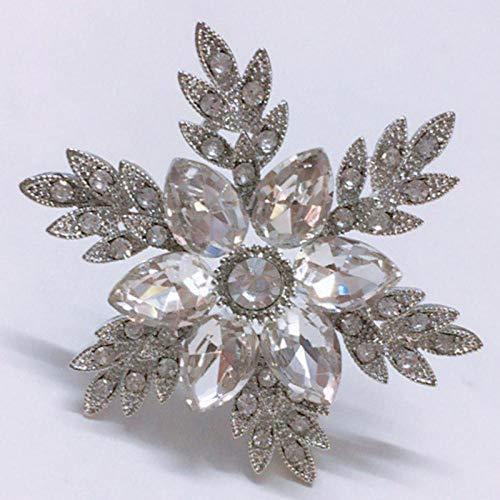 ROTOOY Exquisitos broches de Copo de Nieve de Cristal para Mujer, joyería de Boda, Broche de Diamantes de imitación, Accesorios para Abrigos, Pin de Ramillete, Blanco