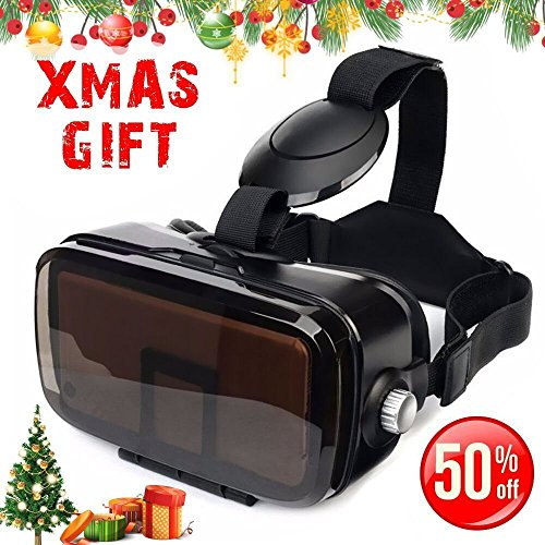 SMAVR 3D VR Immersive Headset Glasses, Virtual Reality Viewer Helmet Goggles, Private Theater for Movie & Games. Adjustable Pupil, Fit for Most Users via iOS & Android Phone