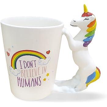 Taza de cerámica,Tazas desayuno con unicornios - I dont belive in humans - 350 ml - Tazas con frases graciosas: Amazon.es: Hogar