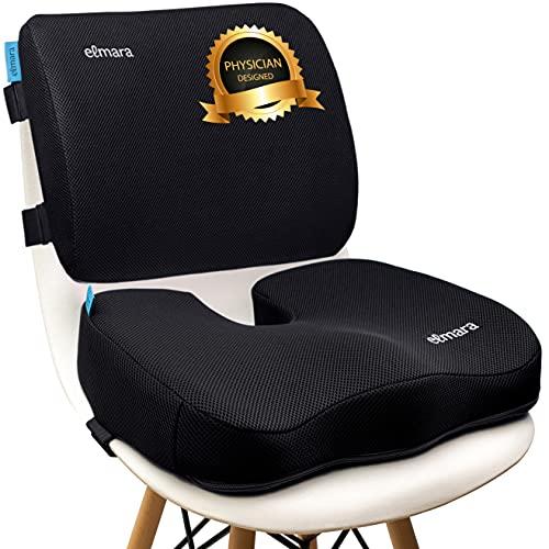 Elmara Lumbar Support Pillow & Coccyx Seat Cushion, Office Chair Seat Cushion Back Support Pillow for Chair, Memory Foam Desk Chair Cushion for Back Pain, Back Pillow for Office Chair (Black)