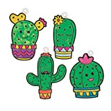 Fun Express Cactus Suncatchers | 24 Count | Great for Coloring Activity, Art Craft, Classroom Supply, Birthday...