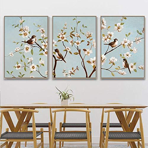 Vogeltje bloem poster op wind tak en print kunst muur foto op canvas huisdecoratie plateau 40x60cmx3 (frameloze)