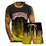 Camiseta De Verano Backwoods para Hombre Camiseta De Talla Grande Y Pantalón De Manga Corta De 5 Puntos Traje Deportivo para Hombre S