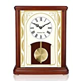 Westminster - Orologio da tavolo per la nonna, in legno, per soggiorno, decorazione silenziosa, in legno massiccio, a batteria, per camino, camino, scrivania, scrivania e decorazione per la casa