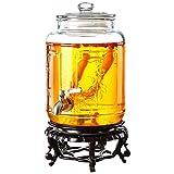 CSQHCZS-FQ Dispensador De Bebidas De Vidrio Tarro De Masón | con Espiga Libre De Fugas | Soporte De Resina | Tapa De Vidrio | 8L ~ 20L | Limonada, Té, Agua Fría | Transparente ++