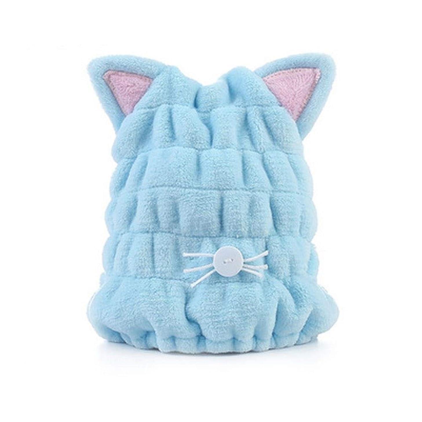 弱める星変形CXZA 吸水速乾性タオル、大人かわいい太いシャワーキャップ、ヘアータオル (Color : Light blue)