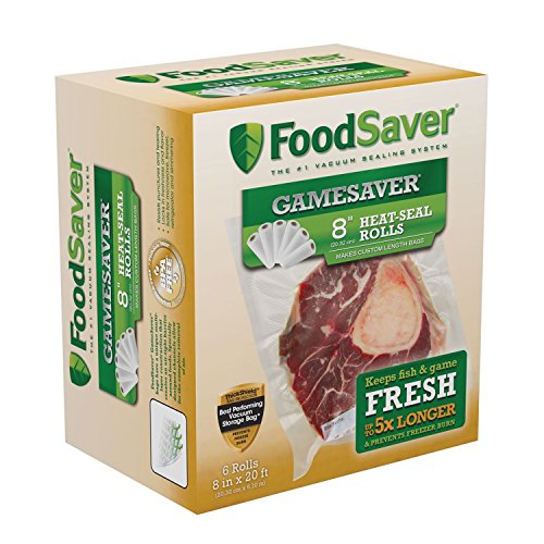 FoodSaver GameSaver 8 x 20 Vacuum Seal Long Roll with BPA-Free Multilayer Construction 6 Pack