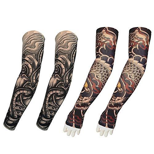 Manches de tatouage pour hommes, fausses manches de tatouage temporaire couvrent les bas de bras souples manches de protection solaire pour le costume et le sport - 2 paires