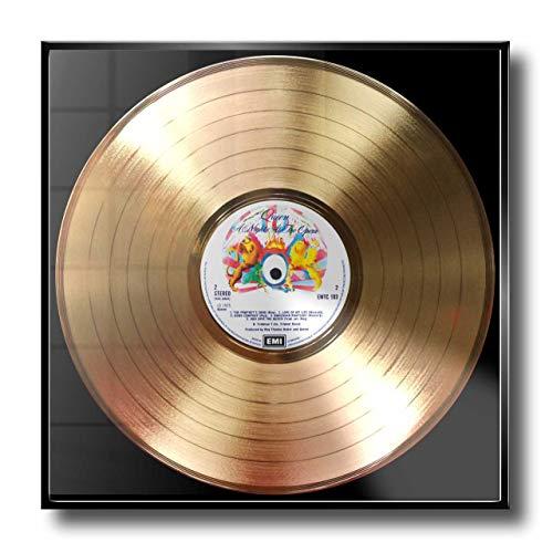 DISC´O´CLOCK Queen - A Night at The Opera: Rahmen mit Goldener Erinnerungsschallplatte! - Super Geschenk für Alles Fans, Musiker, DJs und Bands 24UHR MOGLICH! Made IN Italy