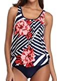 Yonique Blouson Tankini Swimsuits for Women Modest Bathing Suits Two Piece Loose Fit Swimwear Blue Floral L by