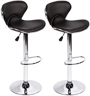 Bar Stools Swivel with Back PU Leather Height Adjustable Kitchen Counter Dining Chairs Set of 2, Black, Butterfly Bar Stool