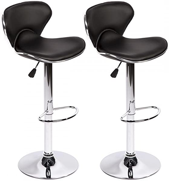 Bar Stools Swivel With Back PU Leather Height Adjustable Kitchen Counter Dining Chairs Set Of 2 Black Butterfly Bar Stool