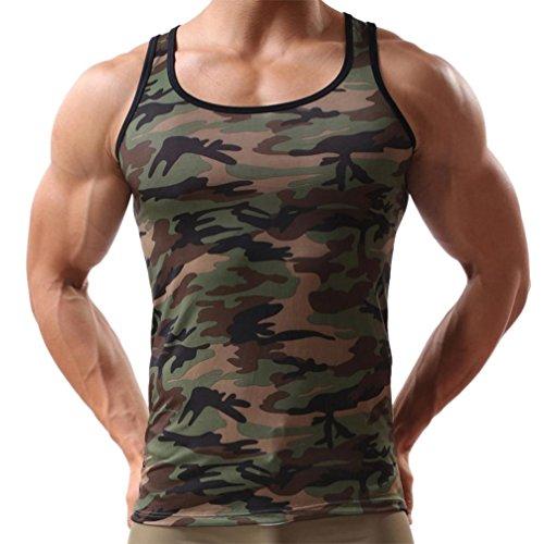 OSYARD Ärmelloses Herren T-Shirt,Männer Camouflage Bluse Weste Sportswear Tank Tops, Mann Sommer Stylisch Slim Fit Muskelshirt Basic Tee Fitness Kleidung Outdoor Tarnung Outwear