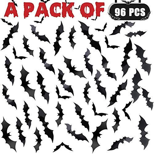 HENJI 96 Stück Halloween 3D Fledermäuse Aufkleber Zubehör Fledermaus Zubehör für Deko Dekoration Halloween Party Haus Fenster Wanddekoration