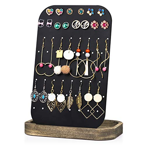 Earring Holder Organizer Display, Metal Jewelry Organizer with Solid Wood Tray(62 Holes), Carbonized Black