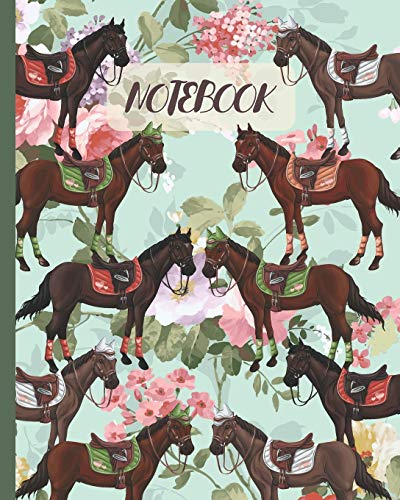 """Notebook: Horse Racing Equestrian & Vintage Pink Rose- Lined Notebook, Diary, Track, Log & Journal - Cute Gift Idea for Girls, Teens, Women Who Love Horse Riding (8"""" x10"""" 120 Pages)"""