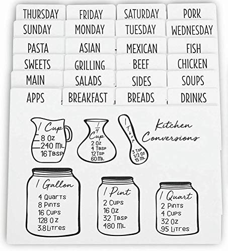 Outshine Premium White Recipe Card Dividers 4x6 with Tabs (Set of 24) | Recipe Box Dividers Made of Thick Cardstock | Includes 28 Adhesive Labels and Printed Cooking Tips | Best Kitchen Gift