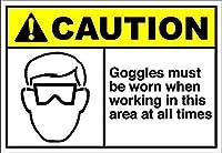 このエリアで作業するときはゴーグルを着用する必要があります 金属板ブリキ看板警告サイン注意サイン表示パネル情報サイン金属安全サイン