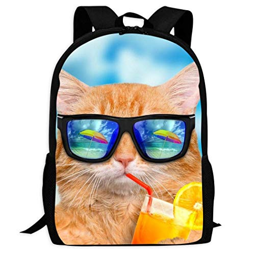 XCNGG Sport School Funny Animal cat and Sunglasses Backpack Teen Boys and Girls Cartoon Casual School Bag