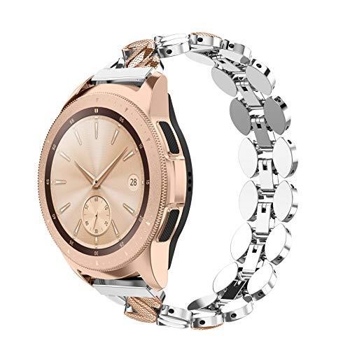 Ownaco Compatible con Samsung Galaxy Watch 42 mm pulsera mujer 20 mm pulsera de metal banda de repuesto para Galaxy Active 2 40 mm (rosa plateado)