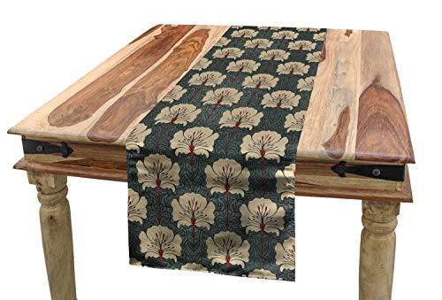 ABAKUHAUS Blumen Tischläufer, Jugendstil-Mohnblumen, Esszimmer Küche Rechteckiger Dekorativer Tischläufer, 40 x 180 cm, Zinnoberrot Grau Tan