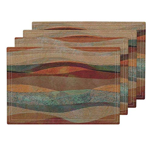 Travertine Sandstone Heat Resistant Placemat, Travertine Sandstone Stripes Turquoise Arizona Sw Stripes Stone Sandstone Southwestern by Wren Leyland Washable Placemats for Dining Table Set of 6