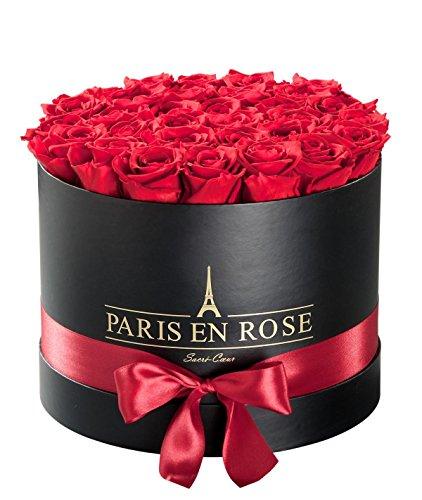 Original PARIS EN ROSE Rosenbox (Rosenbouquet, Flowerbox) Sacré-Cœur mit konservierten Rosen (SCHWARZ-Rot)