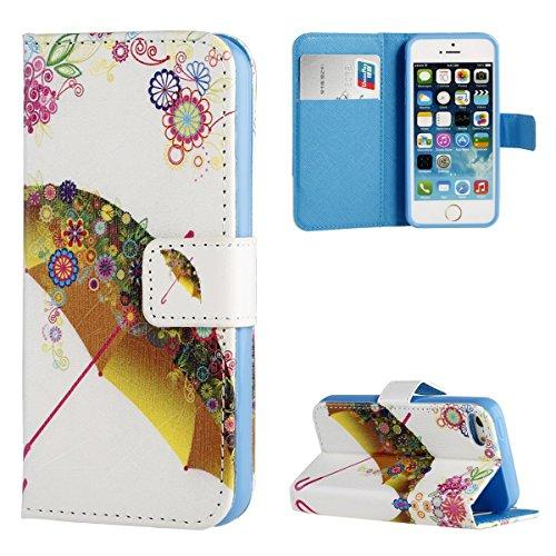 DOTORA iPhone SE / iPhone 5S / iPhone 5 対応レザーケース 手帳型 おしゃれ かわいい 絵柄 キャラクター マグネット式 スタンド機能 ICカード収納 耐衝撃 保護 カバー 傘